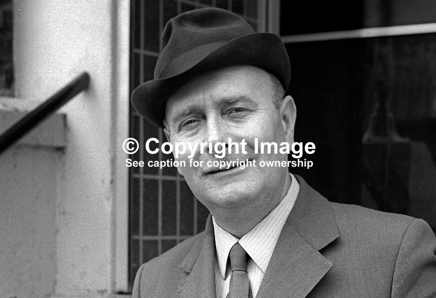 Alderman Tom Newell, member, Craigavon Council, N Ireland, candidate, N Ireland Labour Party, N Ireland Assembly Election,  June 1973. 197306000479a<br /> <br /> Copyright Image from Victor Patterson, 54 Dorchester Park, Belfast, UK, BT9 6RJ<br /> <br /> t1: +44 28 9066 1296 (from Rep of Ireland 048 9066 1296)<br /> t2: +44 28 9002 2446 (from Rep of Ireland 048 9002 2446)<br /> m: +44 7802 353836<br /> <br /> e1: victorpatterson@me.com<br /> e2: victorpatterson@gmail.com<br /> <br /> The use of my copyright images is subject to my Terms &amp; Conditions.<br /> <br /> It is IMPORTANT that you familiarise yourself with them. They are available on my website at www.victorpatterson.com.<br /> <br /> None of my copyright images may be used on a website or on television unless they are visibly watermarked, i.e. &copy; Victor Patterson within the body of the visible image. Also the image metadata of images used on the Internet must not be removed. <br /> <br /> Copyright acknowledgment of my images used in print is a condition of use.<br /> <br /> Failure to observe the above conditions will incur a penalty of at least 100% of the agreed fee. <br /> <br /> Web use (maximum size - 400 kb) is extra at currently recommended NUJ rates.