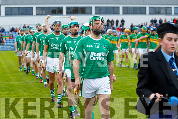 The Ballyduff and Lixnaw teams before the Senior County Hurling Final in Austin Stack Park on Sunday