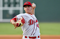 Starting pitcher Jhonathan Diaz (47) of the Greenville Drive delivers a pitch in a game against the Columbia Fireflies on Wednesday, August 23, 2017, at Fluor Field at the West End in Greenville, South Carolina. Greenville won, 16-5. (Tom Priddy/Four Seam Images)
