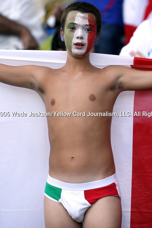 09 July 2006: Unidentified Italy fan in the stands of the Olympiastadion, pregame. Italy tied France 1-1 in overtime at the Olympiastadion in Berlin, Germany in match 64, the championship game, of the 2006 FIFA World Cup Finals. Italy won the World Cup by defeating France 5-3 on penalty kicks.