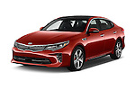 2018 KIA Optima SX 4 Door Sedan Angular Front stock photos of front three quarter view