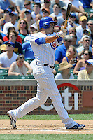 Chicago Cubs center fielder David DeJesus #9 swings at a pitch during a game against the Arizona Diamondbacks at Wrigley Field on July 15, 2012 in Chicago, Illinois. The Cubs defeated the Diamondbacks 3-1. (Tony Farlow/Four Seam Images).