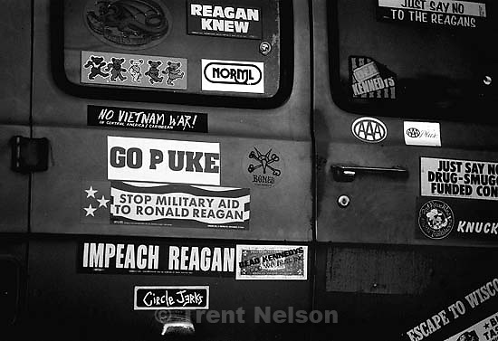 Stickers on the back of a van, february 1988.   &amp;#xA;<br />