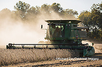 63801-07402 Soybean harvest with John Deere combine in Marion Co. IL