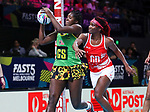 29/10/17 Fast5 2017<br /> Fast 5 Netball World Series<br /> Hisense Arena Melbourne<br /> Grand Final Jamaica v England<br /> <br /> Jhaneile Fowler-Reid and Ama Agbeze<br /> <br /> <br /> <br /> <br /> Photo: Grant Treeby