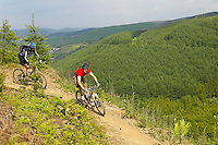 Paul Hopkins and Oli Beckingsale..The Wall  trail , Afan Argoed , Wales ..May 2004 pic copyright Steve Behr / Stockfile