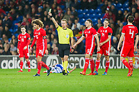 Ethan Ampadu of Wales is shown a yellow card during the International Friendly match between Wales and Panama at the Cardiff City Stadium, Cardiff, Wales on 14 November 2017. Photo by Mark Hawkins.