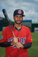 Elizabethton Twins Gilberto Celestino (25) poses for a photo before a game against the Bristol Pirates on July 29, 2018 at Joe O'Brien Field in Elizabethton, Tennessee.  Bristol defeated Elizabethton 7-4.  (Mike Janes/Four Seam Images)