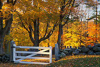 Jaffrey Center, New Hampshire, NH, A stone wall surrounds a cemetery with a white gate as the entrance in Jaffrey Center in the autumn.