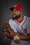 22 February 2019: Washington Nationals pitcher Wander Suero poses for his Photo Day portrait at the Ballpark of the Palm Beaches in West Palm Beach, Florida. Mandatory Credit: Ed Wolfstein Photo *** RAW (NEF) Image File Available ***