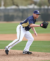 Randy Wolf #43 of the Milwaukee Brewers participates in pitchers fielding practice during spring training workouts at the Brewers complex on February 18, 2011  in Phoenix, Arizona. .Photo by Bill Mitchell / Four Seam Images.