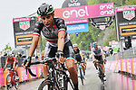 Italian National Champion Fabio Aru (ITA) UAE Team Emirates crosses the finish line at the end of a very wet Stage 8 of the 2018 Giro d'Italia, running 209km from Praia a Mare to Montevergine di Mercogliano, Italy. 12th May 2018.<br /> Picture: LaPresse/Gian Mattia D'Alberto | Cyclefile<br /> <br /> <br /> All photos usage must carry mandatory copyright credit (&copy; Cyclefile | LaPresse/Gian Mattia D'Alberto)