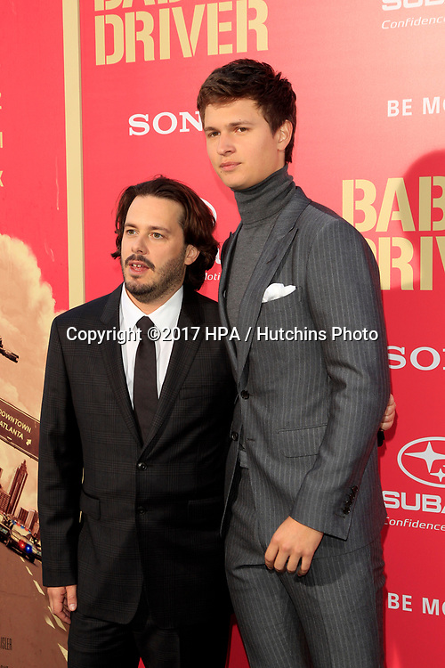 "LOS ANGELES - JUN 14:  Edgar Wright, Ansel Elgort at the ""Baby Driver"" Premiere at the The Theater at Ace Hotel on June 14, 2017 in Los Angeles, CA"