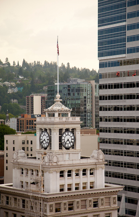 The view of downtown Portland from the rooftop bar of Departures, the restaurant for the hotel, The Nine's