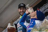 'bottom's up' for 3rd place finisher Iljo Keisse (BEL/QuickStep Floors) on the podium &amp; thereby daring race winner (&amp; former teammate) Guillaume van Keirsbulck (BEL/Wanty-Groupe Gobert) to do the same with his (giant) glass...<br /> <br /> GP Le Samyn 2017 (1.1)