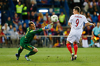 FC Barcelona´s goalkeeper Ter Steger and Sevilla´s forward Gameiro during the Final of Copa del Rey match between FC Barcelona and SevillaFC at the Vicente Calderon Stadium in Madrid, Sunday, May 22, 2016.