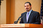 Saad Hariri, President of the Council of Ministers of Lebanon, delivers remarks in Lohrfink Auditorium.