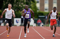 18 MAY 2008 - LOUGHBOROUGH, UK - Mens 100m - Nick Smith (SCO), Harry Aikines Aryeetey (LOU), Gavin Eastman (ENG) - Loughborough International Athletics. .(PHOTO (C) NIGEL FARROW)
