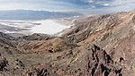 Death Valley National Park, California; a panoramic looking west from Dantes View over the Badwater Basin and Death Valley, towards the Panamint mountain range, the overlook sits at 5475 feet above sea level, while the valley floor is the lowest in North America at 282 feet below sea level