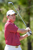 November 14, 2010: Justin Leonard eyes his tee shot on the par 3 third of the Magnolia course during third round golf action from The Children's Miracle Network Hospitals Classic held at The Disney Golf Resort in Lake Buena Vista, FL.