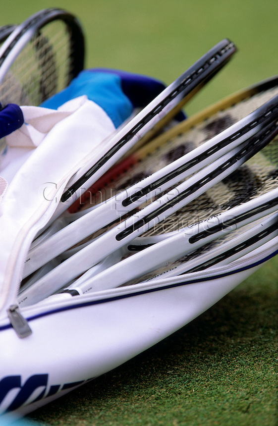 Close up of a bag of tennis racquets