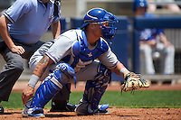 Midland RockHounds catcher Bruce Maxwell (13) during a game against the Tulsa Drillers on June 3, 2015 at Oneok Field in Tulsa, Oklahoma.  Midland defeated Tulsa 5-3.  (Mike Janes/Four Seam Images)