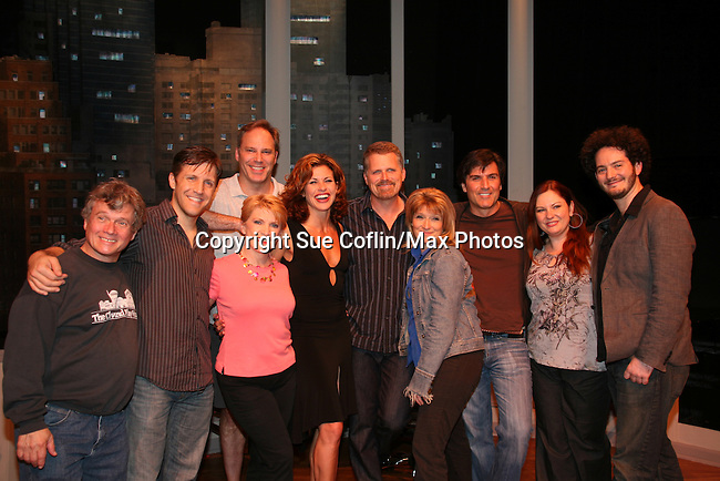 Guiding Light's Robert Newman stars in Sessions - A New Musical - and poses with Vincent Irizarry and the cast - left to right - Ken Jennings, Scott Richard Foster, Al Bundonis, Bertilla Baker, Rachelle Rak, Liz Larsen, Kelli Maguire and Sky Seals on June 11, 2009 at the Algonquin Theater, New York City, New York. - Photo by Sue Coflin/Max Photos