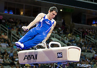 David Sender of Hilton HHonors competes on Pommel horse during the 2012 US Olympic Trials competition at HP Pavilion in San Jose, California on June 28th, 2012.