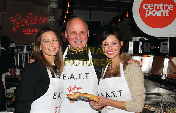 Rachel Stevens, Aldo Zilli and Jessica Jane Clement .The EATT (Eat At The Table) Launch Photocall - an Annual Event to feed the Homeless - at Golden Union Fish Bar, Oxford Street, London, England..February 8th 2012.half length black beige top white apron food battered fish  fur .CAP/ROS.©Steve Ross/Capital Pictures
