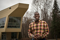 Civil Engineering Major Mohamed Niagme photographed in front of UAA's ANSEP Building. Niagme, who will graduate Sunday, has been heavily involved  in ANSEP and plans to work for the U.S. Army Corps of Engineers upon graduation.