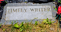 NEW YORKT, NY - JUNE 10: Timely Writer's grave in the infield on June 10, 2017 in Elmont, New York.(Photo by Sue Kawczynski/Eclipse Sportswire/Getty Images)