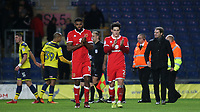 Ethan Ebanks-Landell and George Williams applaud the MK Dons fans at the final whistle during Oxford United vs MK Dons, Sky Bet EFL League 1 Football at the Kassam Stadium on 1st January 2018