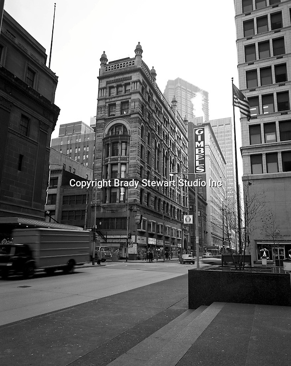 Pittsburgh PA: View east on Sixth Avenue toward the corner of  Wood Street - 1970