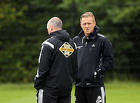 Pictured: Manager Garry Monk (R). Thursday 14 August 2014<br /> Re: Swansea City FC training at Fairwood, south Wales, ahead of their first game of the Premier League season against Manchester United this coming Saturday.