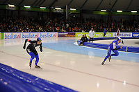 SCHAATSEN: HEERENVEEN: 28-12-2013, IJsstadion Thialf, KNSB Kwalificatie Toernooi (KKT), 500m, Moniek Klijnstra, Letitia de Jong, ©foto Martin de Jong