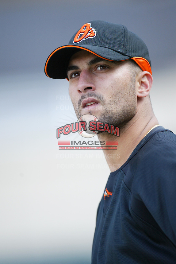 Nick Markakis of the Baltimore Orioles during batting practice before a game from the 2007 season at Angel Stadium in Anaheim, California. (Larry Goren/Four Seam Images)