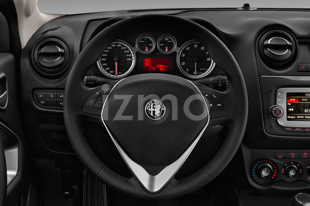 Car pictures of steering wheel view of a 2016 Alfaromeo Mito Super 3 Door hatchback Steering Wheel