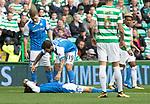 Celtic v St Johnstone &hellip;26.08.17&hellip; Celtic Park&hellip; SPFL<br />Murray Davidson lioes injured after his head clash<br />Picture by Graeme Hart.<br />Copyright Perthshire Picture Agency<br />Tel: 01738 623350  Mobile: 07990 594431