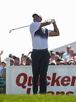 Potomac, MD - June 30, 2018: Tiger Woods tee shot from the 17th hole during Round 3 at the Quicken Loans National Tournament at TPC Potomac in Potomac, MD, June 30, 2018.  (Photo by Elliott Brown/Media Images International)