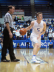 February 15, 2017:  Air Force guard, Zach Kocur #5, looks to make a pass during the NCAA basketball game between the University of Nevada Wolfpack and the Air Force Academy Falcons, Clune Arena, U.S. Air Force Academy, Colorado Springs, Colorado.  Nevada defeats Air Force 78-59.
