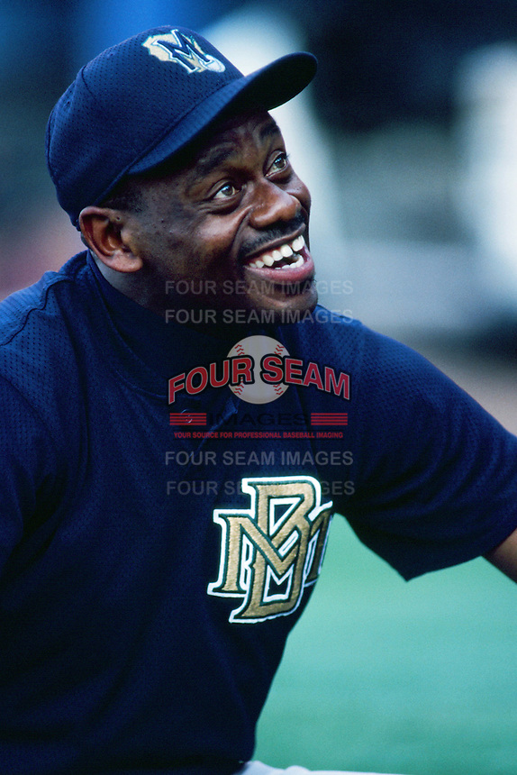Marquis Grissom of the Milwaukee Brewers before a 1999 Major League Baseball season game against the Los Angeles Dodgers in Los Angeles, California. (Larry Goren/Four Seam Images)