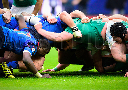 13.02.2016. Stade de France, Paris, France. 6 Nations Rugby international. France versus Ireland.  Yacouba Camara ( France ) in the scrum