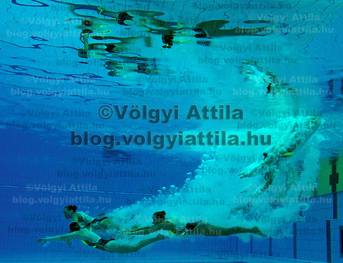 Underwater picture of competitors competing in the Team Synchronized Swimming competition during the Swimming European Championships.