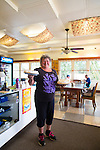 Owner Patty at the Hana Hou restaurant, the southern most restaurant in the United States, in Na'alehu on the Big Island of Hawaii, serves up Ka'u coffee with its home made cream pies.