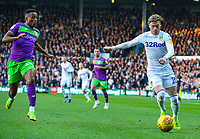 Leeds United's Ezgjan&nbsp;Alioski gets away from Bristol City's Niclas Eliasson<br /> <br /> Photographer Alex Dodd/CameraSport<br /> <br /> The EFL Sky Bet Championship - Leeds United v Bristol City - Saturday 24th November 2018 - Elland Road - Leeds<br /> <br /> World Copyright &copy; 2018 CameraSport. All rights reserved. 43 Linden Ave. Countesthorpe. Leicester. England. LE8 5PG - Tel: +44 (0) 116 277 4147 - admin@camerasport.com - www.camerasport.com