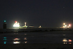 "The MV ""Arklow Raider""  which ran aground at the mouth of the river boyne, on Tuesday evening, The two tugs that have teen atempting to drag the vessel from the sand bar are awaiting an adtional tug which is on route from Liverpool which is due to arrive Friday Morning..Picture Fran Caffrey/www.newsfile.ie.."