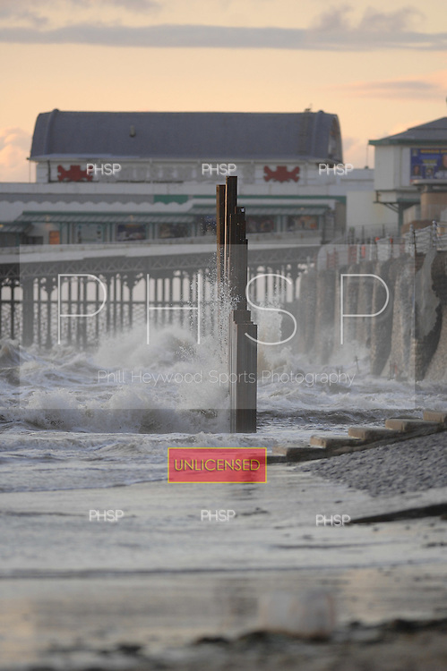 New sea defence consruction stands up  to the incoming tide-North view..