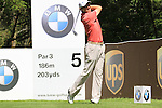 Padraig Harrington teeing off on the 5th tee.during round three of the BMW PGA championship 2010 at Wentworth golf club, Surrey England..Picture Fran Caffrey/Newsfile.ie