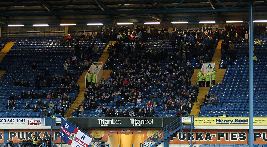 View of the Blackburn Rovers support<br /> <br /> Photographer David Shipman/CameraSport<br /> <br /> Football - The Football League Sky Bet Championship - Sheffield Wednesday v Blackburn Rovers - Tuesday 5th April 2016 - Hillsborough - Sheffield<br /> <br /> &copy; CameraSport - 43 Linden Ave. Countesthorpe. Leicester. England. LE8 5PG - Tel: +44 (0) 116 277 4147 - admin@camerasport.com - www.camerasport.com