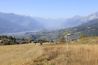 View from the 7th tee during Saturday's Round 3 of the 2018 Omega European Masters, held at the Golf Club Crans-Sur-Sierre, Crans Montana, Switzerland. 8th September 2018.<br /> Picture: Eoin Clarke | Golffile<br /> <br /> <br /> All photos usage must carry mandatory copyright credit (&copy; Golffile | Eoin Clarke)